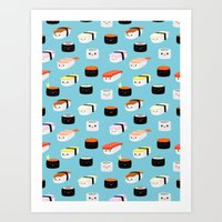 sushi Art Prints featuring Sushi! by Sara Showalter
