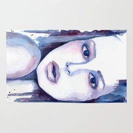 Watercolor - Woman in blue Rug