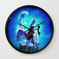 nebula Wall Clocks featuring Blue Pillars of Creation nEBULA  by 2sweet4words Designs