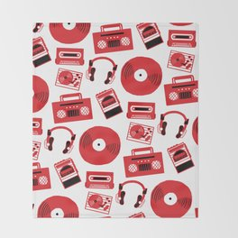 Red Music Throw Blanket