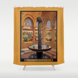 Palermo Monreale vintage 1920s Italian travel ad Shower Curtain