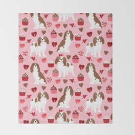 Cavalier King Charles Spaniel valentines day hearts valentine dog breed custom gift for dog lover Throw Blanket