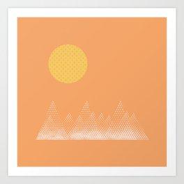 Textured Mountain Sun Art Print