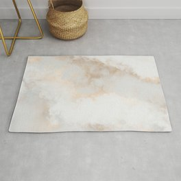 Elegant White Gold Pastel Gray Abstract Marble Rug