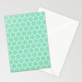 Honeycomb (White & Mint Pattern) Stationery Cards