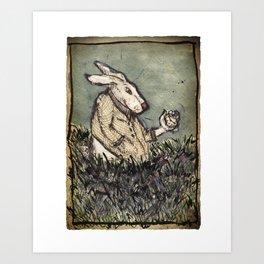 I'm Late I'm Late! White Rabbit Art Print