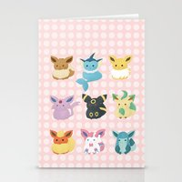 eevee Stationery Cards featuring Eevee Evolutions by Nozubozu