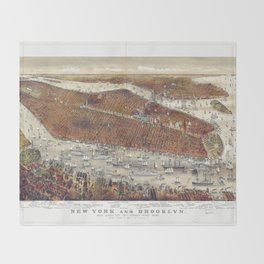 Aerial View of New York and Brooklyn, with Jersey City and Hoboken water front (1877) Throw Blanket