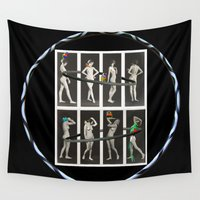 nudes Wall Tapestries featuring Hoop Beauties and Their Exotic Birds by mentalembellisher