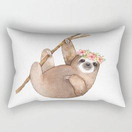 Cute Floral Sloth Rectangular Pillow