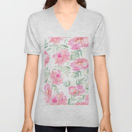 Watercolor Peonie with greenery Unisex V-Neck