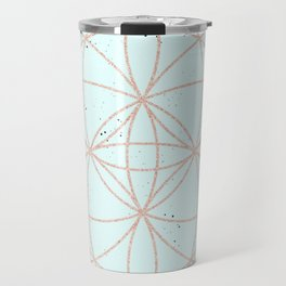 mint speckled with rose gold pattern Travel Mug