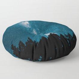 Blue Milky Way At Night Pine Tree Silhouette Stars Night Time Floor Pillow
