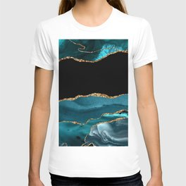 Dreams - Teal and Gold Metallic Agate  T-shirt