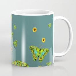 BLUE-GREEN-YELLOW PATTERNED MOTHS YELLOW SUNFLOWERS Coffee Mug
