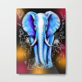 Flower Background Mystical Elephant Metal Print