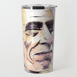 Charles Bukowski portrait in watercolor and ballpoint by McHank Travel Mug