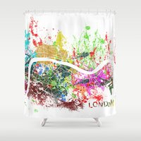 london map Shower Curtains featuring London by Nicksman