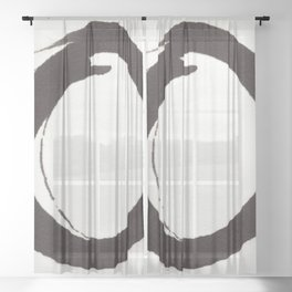 Enso Zen Ink Painting Circle in Black and White Sheer Curtain