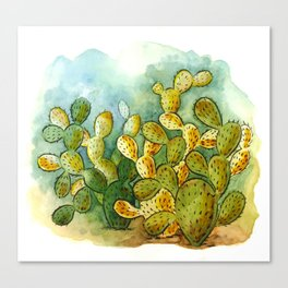 Cacti in watercolor Canvas Print