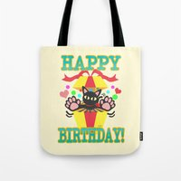 happy birthday Tote Bags featuring Happy Birthday! by BATKEI