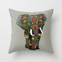 floral elephant stone Throw Pillow