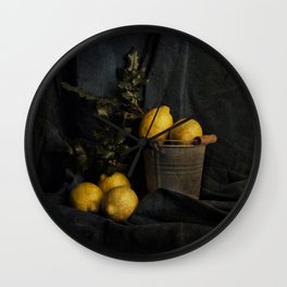 Cassic still life with lemons Wall Clock
