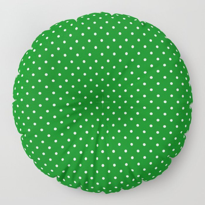 Small White Polkadot Love Heart on Christmas Green Floor Pillow