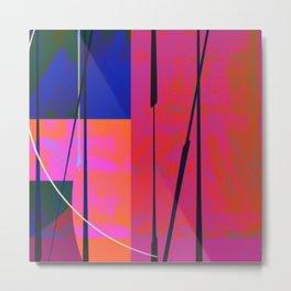 Modern Bold Pink Blue Orange Abstract Metal Print