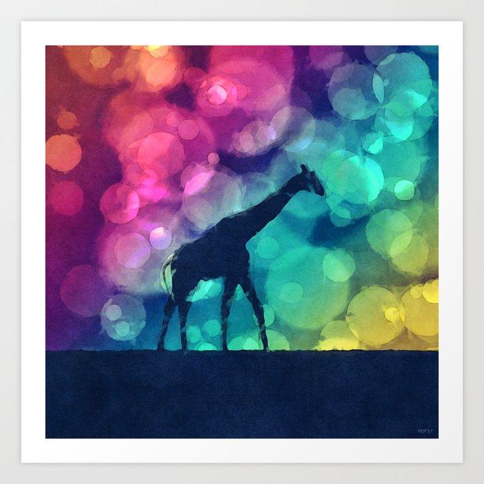Pop Art Giraffe Silhouette Art Print