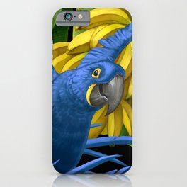 Hyacinth Macaws and bananas Stravaganza (black background). iPhone Case