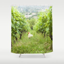 Why Did The Chicken Cross The Grape Vines? Shower Curtain