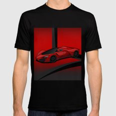 Red racing super car Mens Fitted Tee LARGE Black