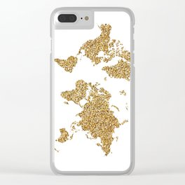 world map white gold Clear iPhone Case