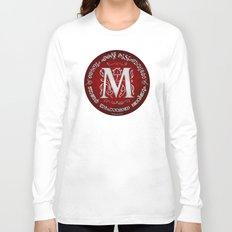 Joshua 24:15 - (Silver on Red) Monogram M Long Sleeve T-shirt