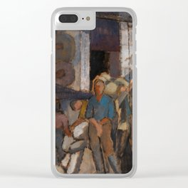 Alvar Cawén - At the Factory [1919], man, blue, dress Clear iPhone Case