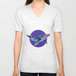Patchwork Whale Unisex V-Neck