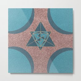 Teal and Rose Gold Abstract Moon and Stars Art Print Metal Print