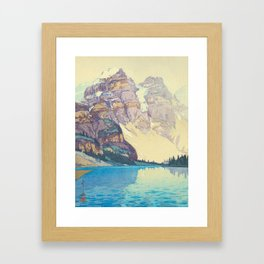 Moraine Lake (Moren) Hiroshi Yoshida Japanese Woodblock Print Framed Art Print