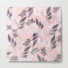 Pink Leavs - Wall Mural Metal Print
