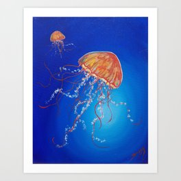 Jellyfish, Oil painting by Faye Art Print