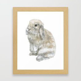 Lop Rabbit Watercolor Painting Bunny Framed Art Print