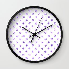 Indigo Violet on White Snowflakes Wall Clock