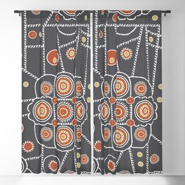 abstract doodle in brown and orange Blackout Curtain
