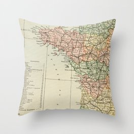 Old Map of the West of France Throw Pillow