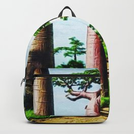The Disappearing Giant Baobab Trees of Madagascar Landscape Painting Backpack