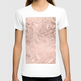 Modern rose gold floral illustration on blush pink T-shirt