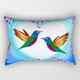Hummingbirds and Cherry Blossoms with Butterflies Rectangular Pillow