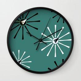 Fifties Kitchen Pattern Emerald Wall Clock