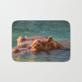 African Hippo Looking at camera Bath Mat